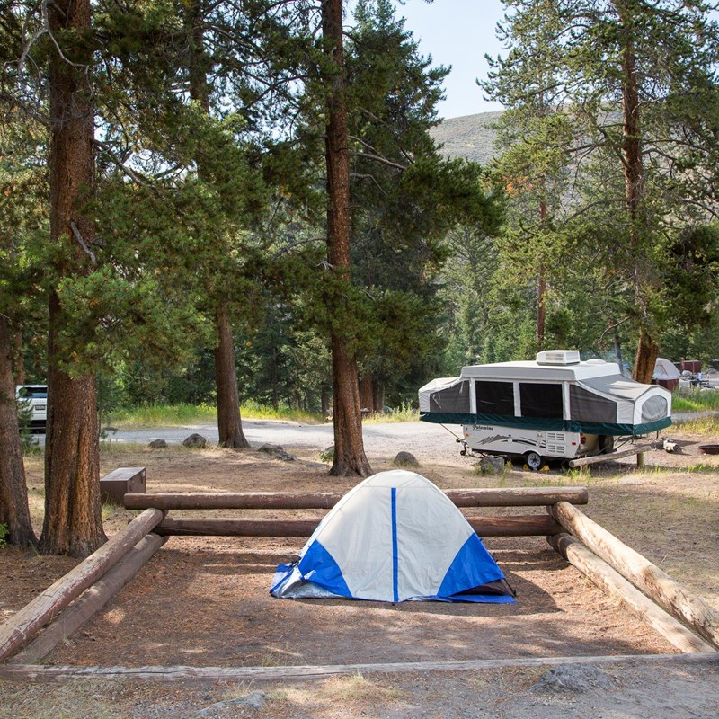 Campsite at Tower Fall Campground