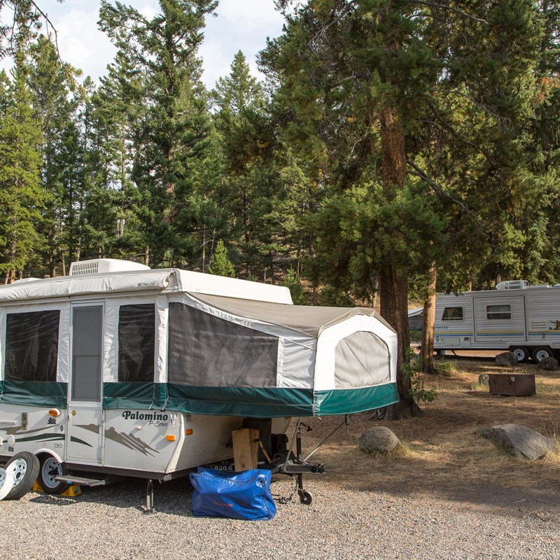 RVs at the Tower Fall Campground
