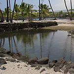 Historic fish pond and seawall along Hawaiian coast