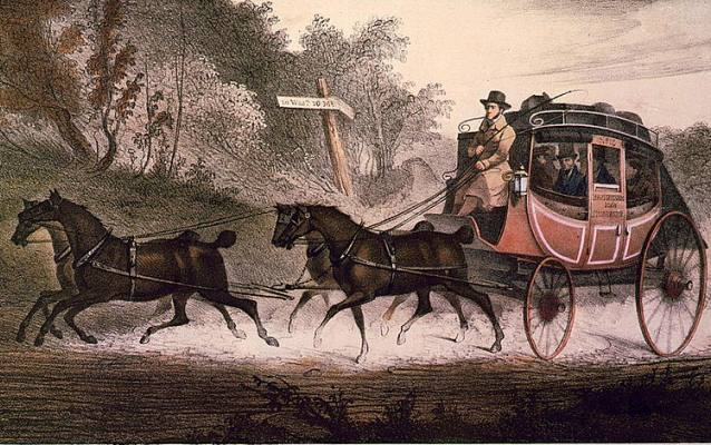 Illustration of a stagecoach being pulled by four galloping horses.