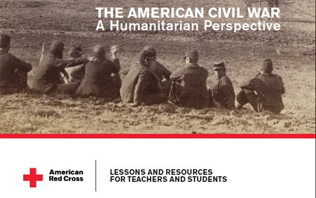 Detail of curriculum cover with title, Red Cross logo, and Civil War photograph