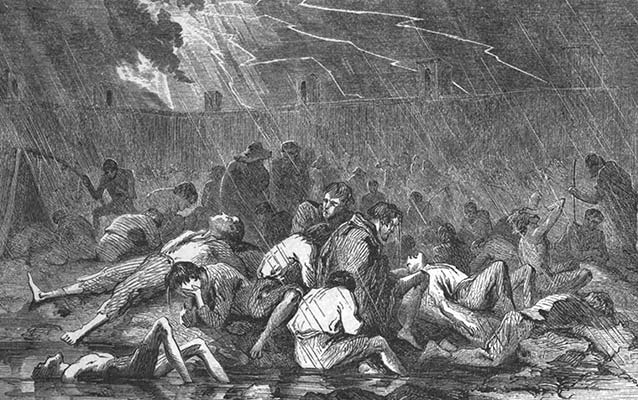 Drawing of men cowering in an open prison pen during a storm.
