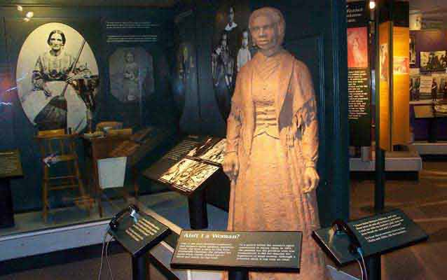 Statue of Sojourner Truth in the Woman's Matters exhibit in the museum.