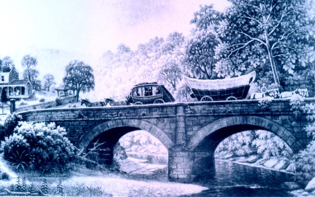 Painting of a stagecoach and a Conestoga wagon on a National Road bridge