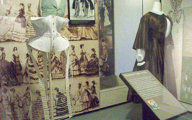 A Bloomer costume and a corset, on exhibit in the museum at Women's Rights National Historical Park.