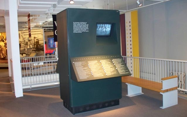The Declaration of Sentiments interactive exhibit in the museum at Women's Rights National Historical Park.