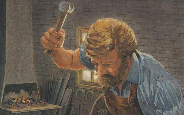 Illustration of a blacksmith hammering