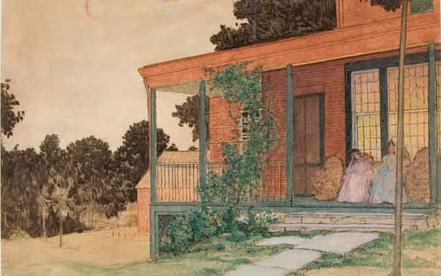 "Pieces like Weir's ""On the Porch, Branchville"" were stylistically influenced by Japanese woodblock prints."