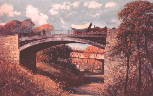 Illustration of the Dunlap's Creek Iron Bridge in Brownsville, PA
