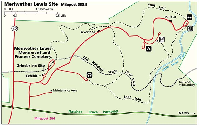 Meriwether Lewis Site Trail Map