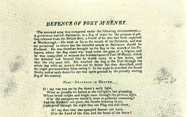 Copy of the original broadside - Defence of Fort McHenry