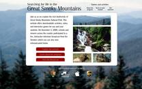 Computer screen showing the opening page of the electronic field trip: photos of mountains, waterfall, elk and box turtle