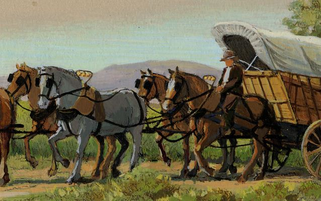 A painting of a Conestoga wagon with the wagoner riding one of the horses