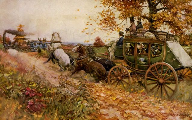 A painting of stagecoach horses being spooked by the new form of transportation, the train