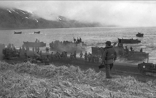 historic photo of Americans landing on a foggy Attuan beach