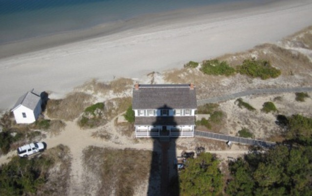 View of the Keepers' Quarters from the top of the lighthouse