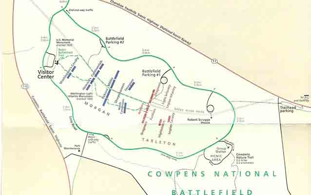 map of Cowpens National Battlefield