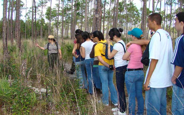 Students in the Pine Rockland habitat