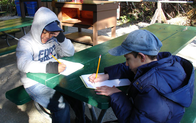 Students writing a story