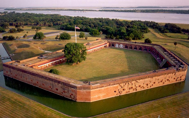 Aerial view of Fort Pulaski.