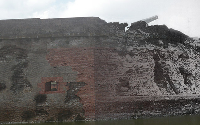 Blended photo showing modern fort and old battle damage.