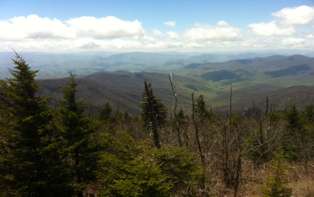 A view of distant mountains from Clingmans Dome.