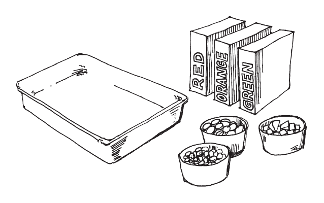 A rectangular pan and three cups of colored objects