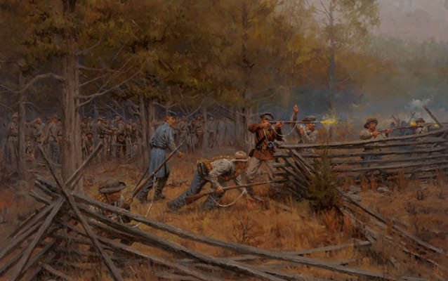 Painting of Colonel Maney's soldiers lurking just inside the tree line during the Battle of Stones River.