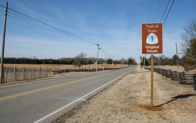 "Photograph of an official Trail of Tears ""Original Route"" sign along Old Nashville Highway in Murfreesboro, TN."