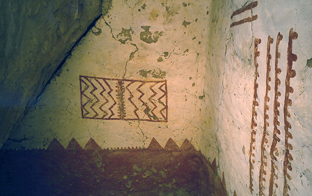 Red and white plaster used to create mural at Cliff Palace