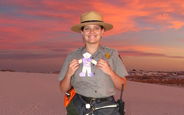 A ranger with Flat Stanley