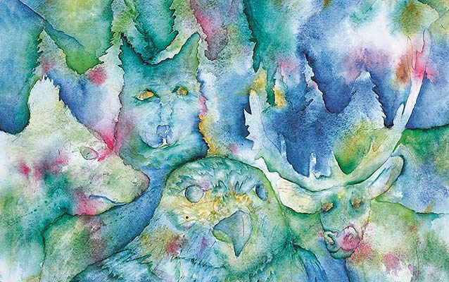 A watercolor painting of wildlife