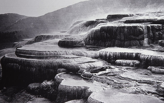 Historic black and white photograph of the mammoth terraces