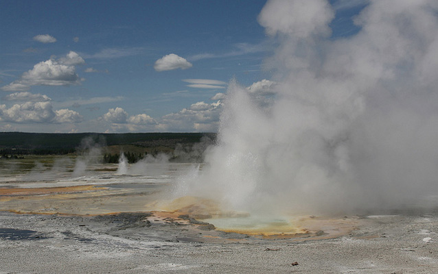 Clepsydra Geyser erupting in Lower Geyser Basin