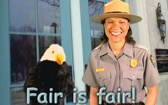 "Ranger Rachel and Allen the Eagle say ""Fair is fair!"""