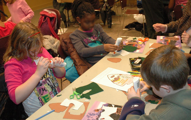 Students create their very own National Park Service arrowheads out of felt.