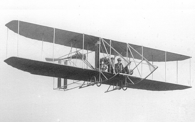 A 1910 Wirght Flyer in the sky