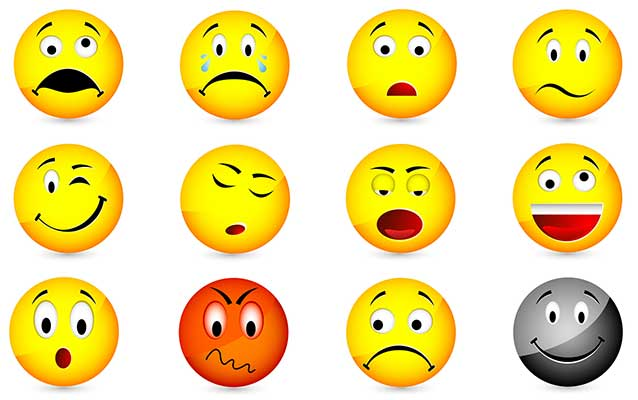 Emoticons of varying facial expressions