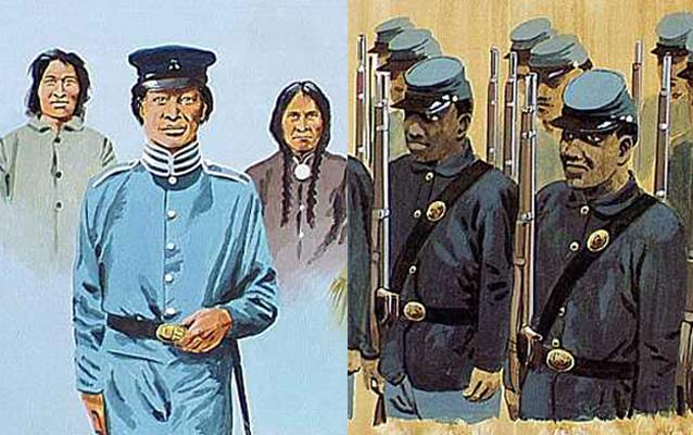 Artwork of American Indian Soldiers and African American Soldiers