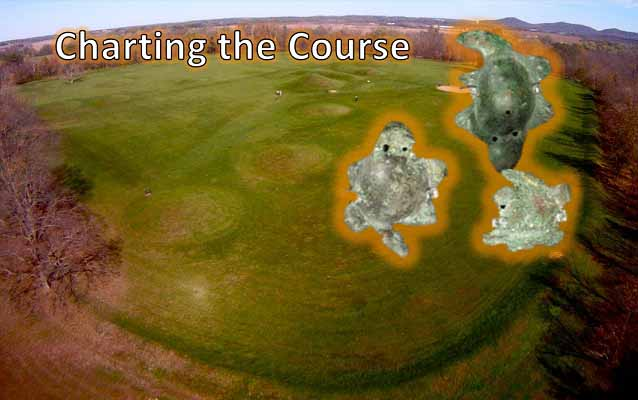 "Aerial view of grass-covered mounds and artifacts with ""charting the course"" text"