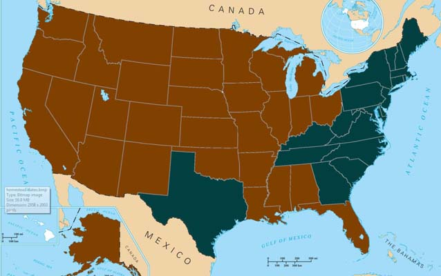 A map of the United States with the 30 homesteading states indicated in brown.