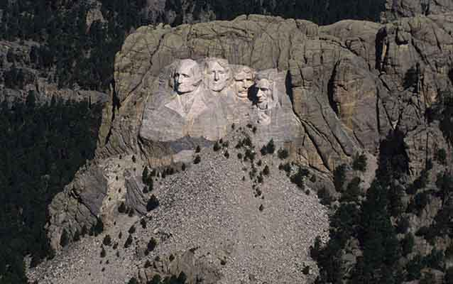 Mount Rushmore as seen from the air.