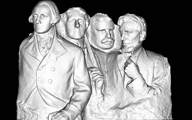 A digital rendering of the 1/12th scale plaster model of Mount Rushmore.