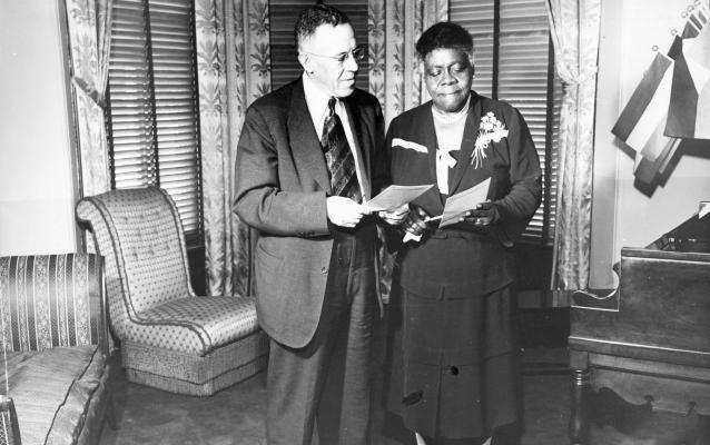 Cumberland Willis Posey, Jr., owner of the Homestead Grays Negro League team, with Mrs. Mary McLeod Bethune