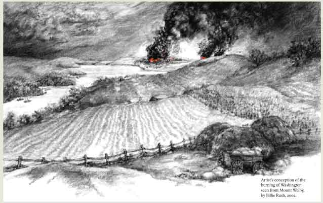 drawing of the burning of washington viewed from mount welby
