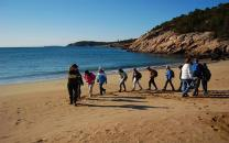 A class explores the geology and wonder of Sand Beach.