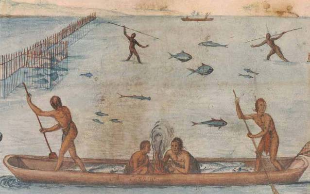 Watercolor of Indians Fishing, 1585–1593.
