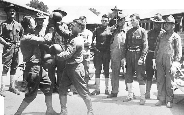 Soldiers boxing at Camp Colt, Gettysburg, 1918