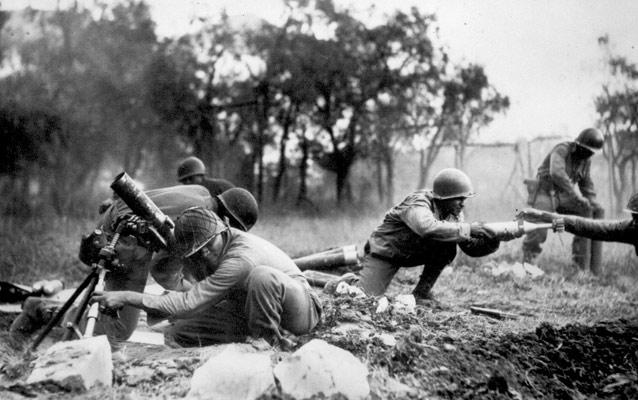 American troops fighting in Italy during WWII