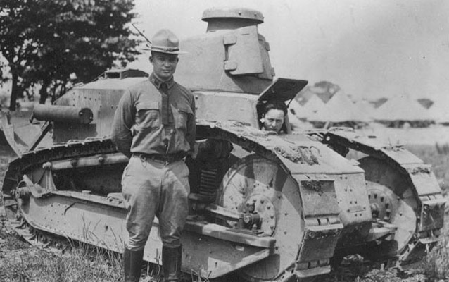 Lt. Col. Eisenhower and Renault tank, 1919.